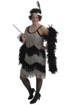 Flashy Black and Silver Flapper Dress