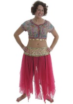 Pink and Teal Belly Dancer Costume