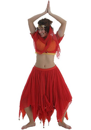 Adult Red and Gold Belly Dancer Costume