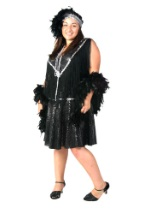 Plus Size Sequined Flapper Costume