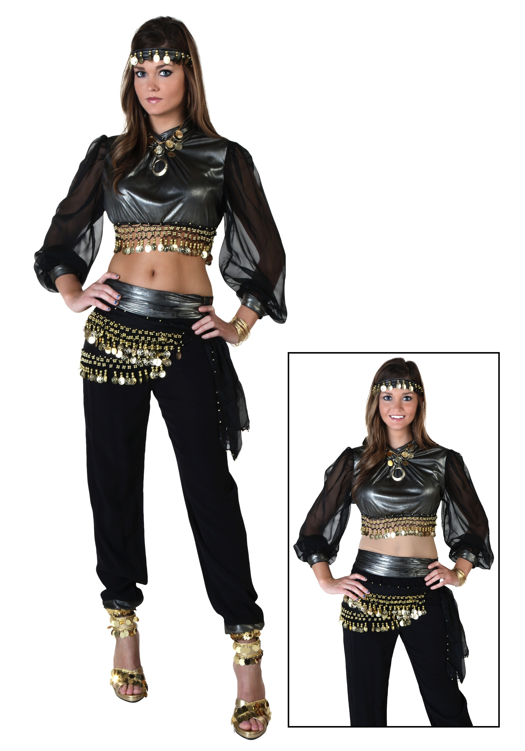 725de23db6a1a Black and Silver Belly Dancer Costume - Renaissance Costumes