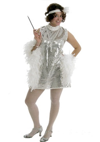 Adult Silver Flapper Dress