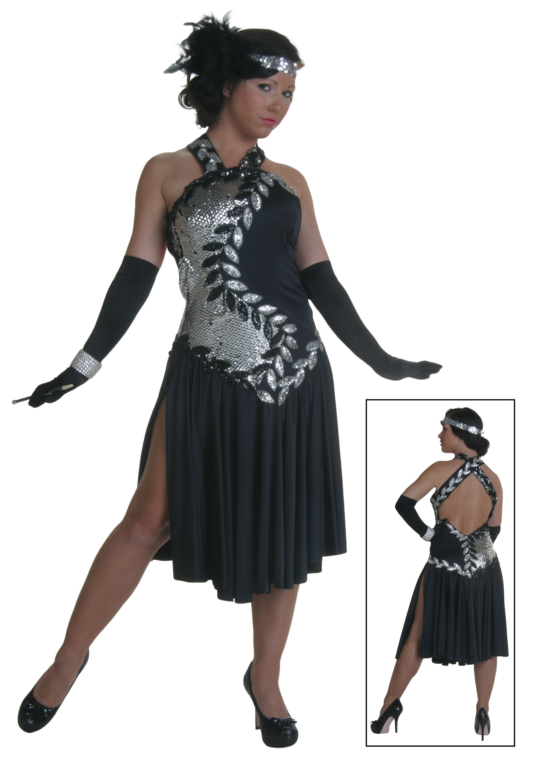 Black and Silver Flapper Costume - Adult Dance Costumes