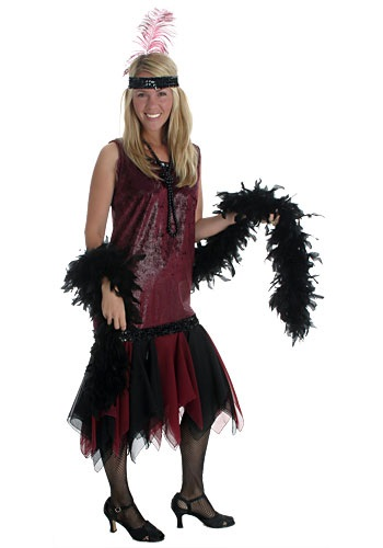 Adult Burgundy Flapper Dress