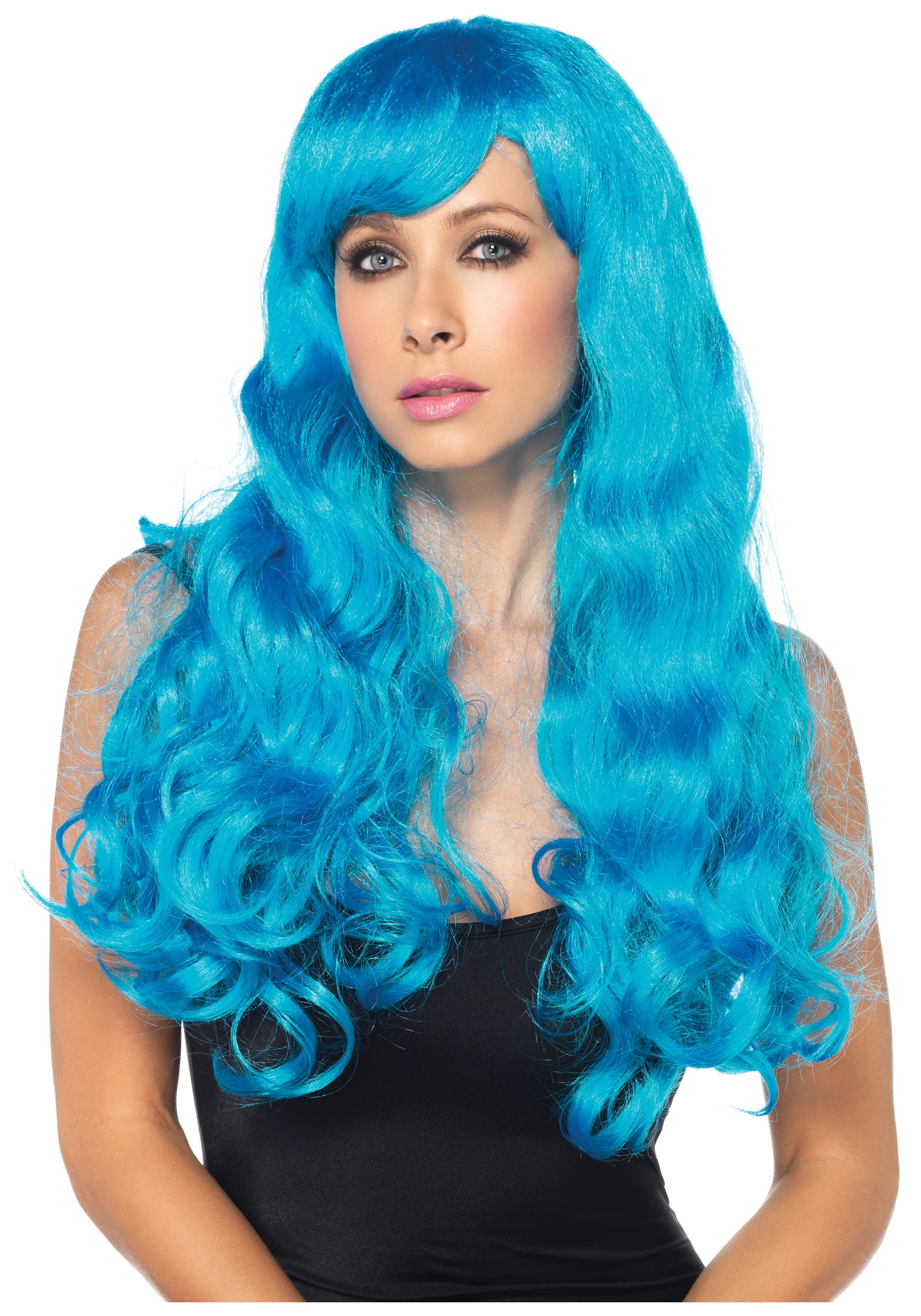 Neon Blue Straight Wig Women S Colorful Costume Wigs